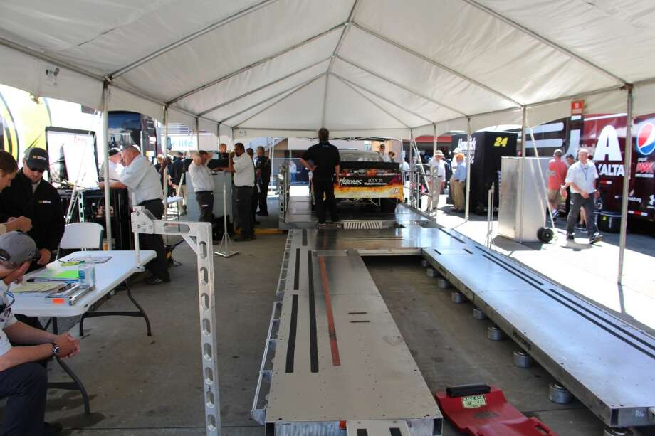 Where NASCAR race cars get weighed.
