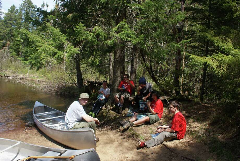 A group from Boy Scout Troop 50 on a camping strop during a 20-mile canoe trip in the Adirondacks last summer. From left are Peter Boeri, Kyle Dikeman, Ryan Fox, Matthew Hesler, Matt Cortelyou and Eric Motler. (Photo provided by Don Hesler)