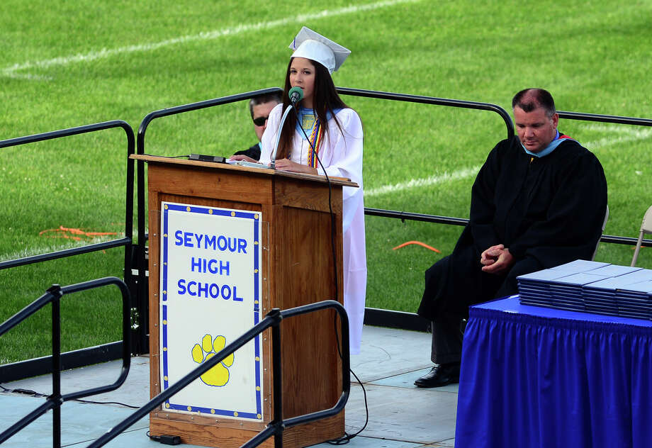 Graduate Julia Maturo gives the Salutatorian Address, during Seymour High School's 127th Commencement Ceremony in Seymour, Conn. on Friday June 20, 2014. Photo: Christian Abraham / Connecticut Post