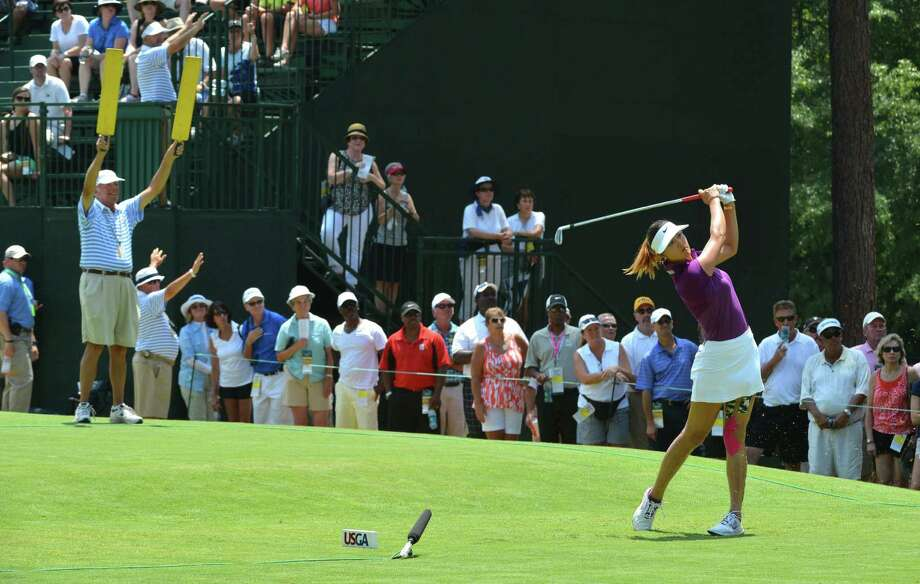 Michelle Wie tees off on the sixth hole during the second round of the U.S. Women's Open on Friday. Photo: Chuck Liddy / McClatchy-Tribune News Service / Raleigh News & Observer