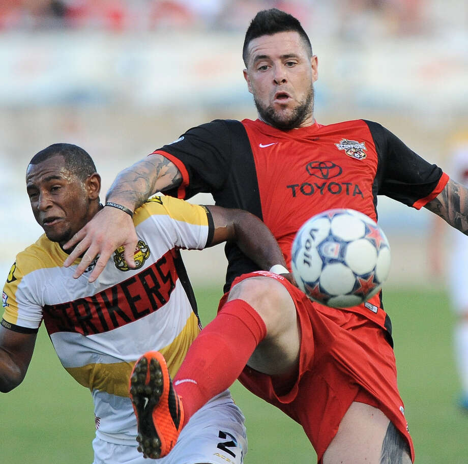 Eric Hassli (right) helped lead the Scorpionsto a 5-2-2 record and a third-place finish during the NASL spring season. Photo: Darren Abate / M3D14.com / Darren Abate/DA Media, LLC