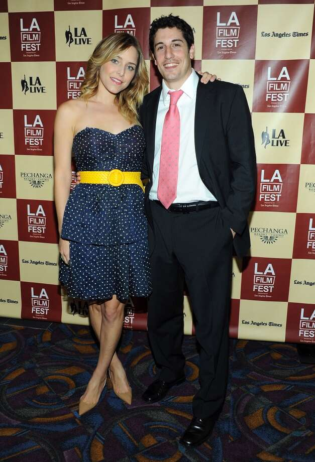 LOS ANGELES, CA - JUNE 18:  Actors Jenny Mollen and  Jason Biggs arrive at the 'L!fe Happens' World Premiere during the 2011 Los Angeles Film Festival held at the Regal Cinemas L.A. LIVE on June 18, 2011 in Los Angeles, California.  (Photo by Angela Weiss/Getty Images) Photo: Getty Images