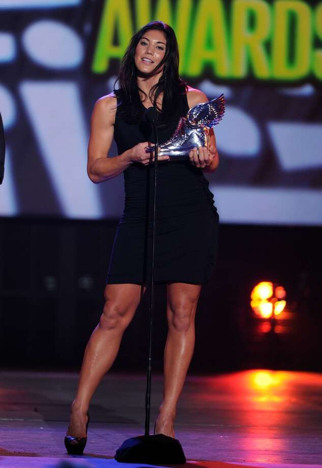 SANTA MONICA, CA - AUGUST 19:  Olympic soccer player Hope Solo accepts award onstage during the 2012 Do Something Awards  at Barker Hangar on August 19, 2012 in Santa Monica, California.  (Photo by Kevin Winter/Getty Images for VH1) Photo: Getty Images For VH1