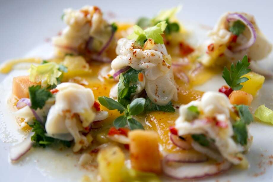 Ceviche de Caracol, with conch, pineapple, ginger and red jalapeño, is shown at Caracol. ( Brett Coomer / Houston Chronicle ) Photo: Brett Coomer, Houston Chronicle