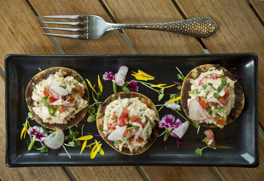 Tostadas de Pez Vela Ahumado, smoked spearfish tostadas, is shown at Caracol. ( Brett Coomer / Houston Chronicle ) Photo: Brett Coomer, Houston Chronicle