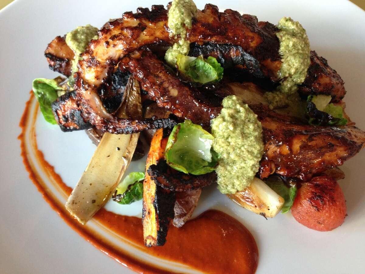 Caracol Cuisine: Mexican CoastalDish: Ensalada de Pulpo (Spanish octopus salad) with roasted potato, carrot, celery leaves and pumpkin-seed dressingEntree price: $$Where: 2200 Post Oak Blvd, No. 160Phone: 713-622-9996Website: caracol.net