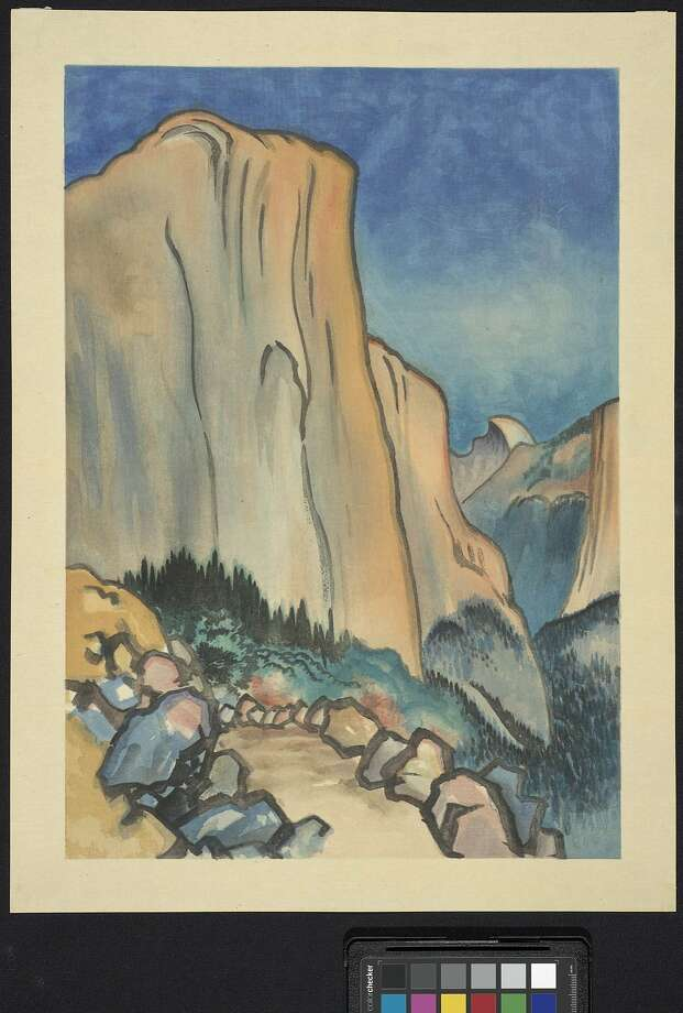 Yosemite National Park's famed peak favored by generations of climbers, El Capitan, rendered as a color woodcut print by Chiura Obata in 1930. Photo: Randy Dodson, California Historical Society