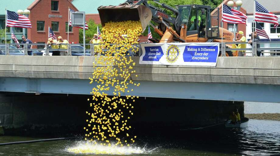 More than 2,500 rubber ducks are dumped onto the Saugatuck River for the start of the Great Duck Race on Saturday, sponsored by the Westport Sunrise Rotary Club. Photo: Jarret Liotta / Westport News