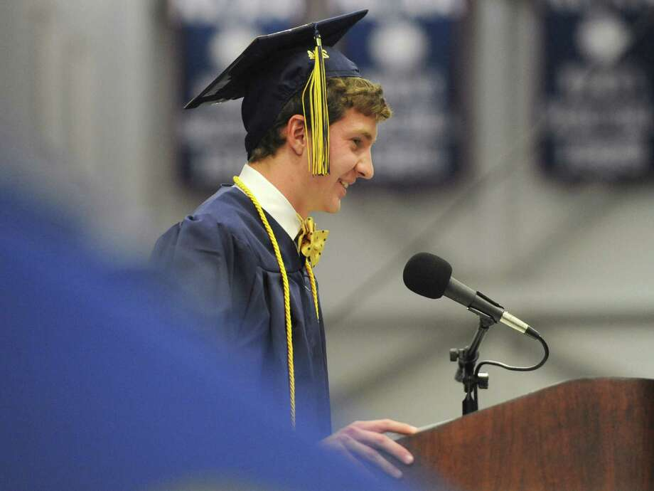 Class President Parker Timmerman speaks at the Brookfield High School 2014 Graduation Ceremony at Western Connecticut State University's O'Neill Center in Danbury, Conn. Saturday, June 21, 2014. Photo: Tyler Sizemore / The News-Times