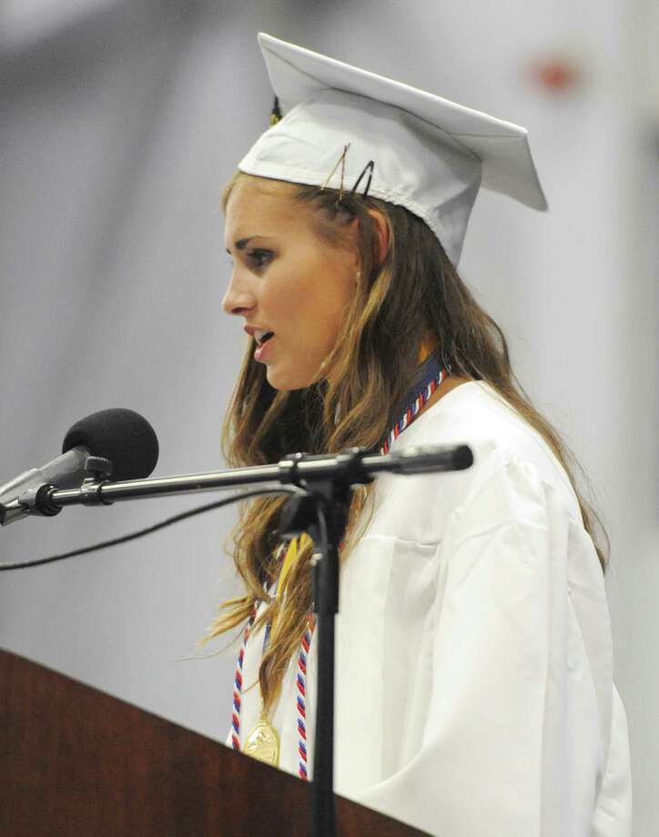Valedictorian Stefanie Ferrarie speaks at the Brookfield High School 2014 Graduation Ceremony at Western Connecticut State University's O'Neill Center in Danbury, Conn. Saturday, June 21, 2014. Photo: Tyler Sizemore / The News-Times