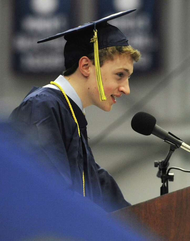 Charles Smart speaks at the Brookfield High School 2014 Graduation Ceremony at Western Connecticut State University's O'Neill Center in Danbury, Conn. Saturday, June 21, 2014. Photo: Tyler Sizemore / The News-Times