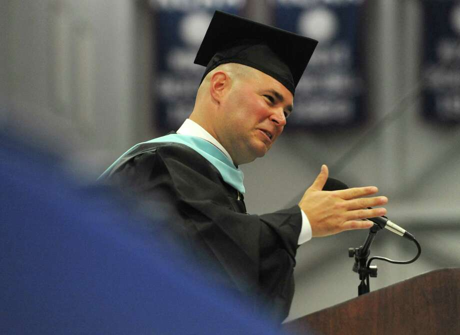 Principal Joseph Palumbo speaks at the Brookfield High School 2014 Graduation Ceremony at Western Connecticut State University's O'Neill Center in Danbury, Conn. Saturday, June 21, 2014. Photo: Tyler Sizemore / The News-Times