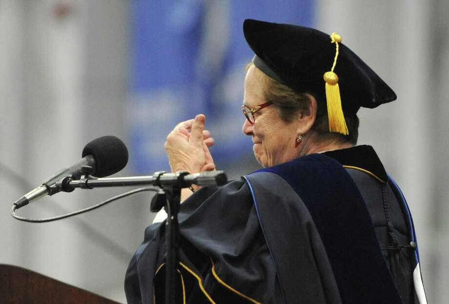 Superintendent Dr. Genie Slone speaks at the Brookfield High School 2014 Graduation Ceremony at Western Connecticut State University's O'Neill Center in Danbury, Conn. Saturday, June 21, 2014. Photo: Tyler Sizemore / The News-Times