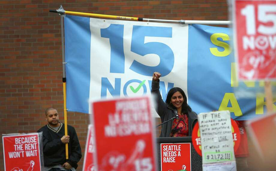 """Kshama Sawant, Seattle City CouncilmemberSalary: $117,000.Socialist Sawant said in January that she'll take home only $40,000 after taxes of her $117,000 salary, and put the remaining money in a """"Solidarity Fund"""" to support her causes. An advocate for a higher minimum wage, Sawant  was one of two councilmembers who opposed the pay-scale hike for City Light CEO Jorge Carrasco. Photo: JOSHUA TRUJILLO, Seattlepi.com / SEATTLEPI.COM"""