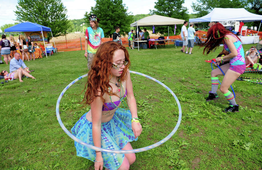 Courtney Rose Kapral, a member of the Disc Jam Hoop Tribe, performs with her hoola hoop, during the 5th Annual Soupstock Music and Arts Festival in Shelton, Conn. on Saturday June 21, 2014. The festival continues on Sunday from 11-6. Photo: Christian Abraham / Connecticut Post