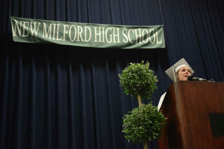 Class President Emma Riggs speaks at the New Milford High School 2014 Graduation Ceremony at Western Connecticut State University's O'Neill Center in Danbury, Conn. Saturday, June 21, 2014. Photo: Tyler Sizemore / The News-Times