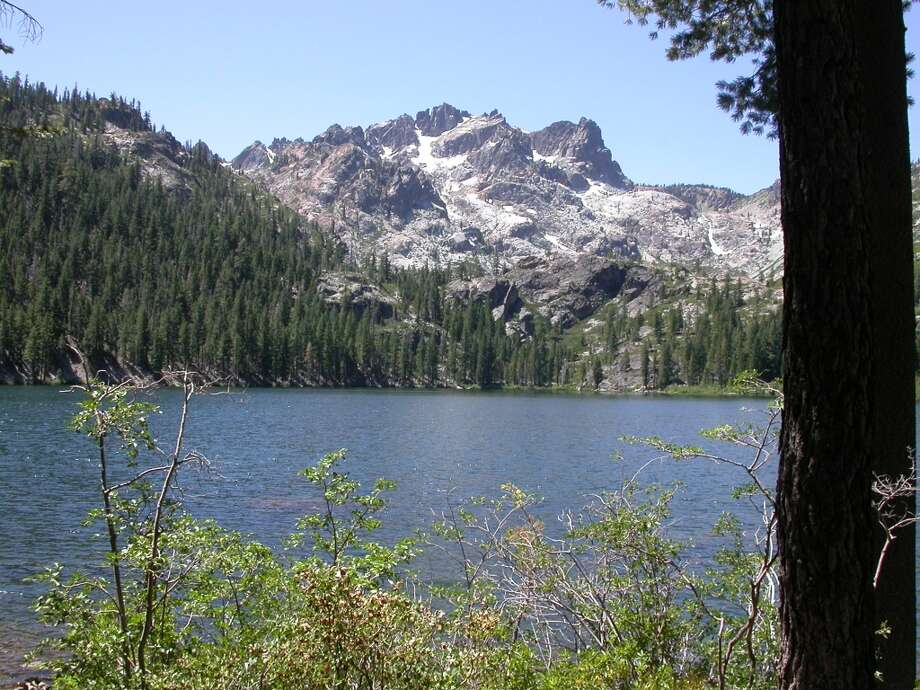 Lower Sardine lake is nestled at foot of Sierra Buttes in Tahoe National Forest, short drive from Bassetts Photo: Tom Stienstra