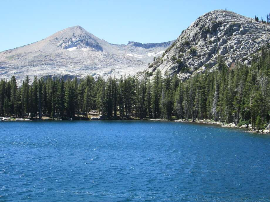 Lake of the Woods in Desolation Wilderness is an easy day hike out of Echo Lakes near South Lake Tahoe -- Ralston Peak, at 9,235 feet, towers on the horizon Photo: Tom Stienstra