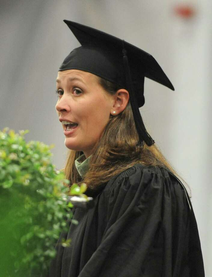New Milford faculty member Sydney Silva speaks at the New Milford High School 2014 Graduation Ceremony at Western Connecticut State University's O'Neill Center in Danbury, Conn. Saturday, June 21, 2014. Photo: Tyler Sizemore / The News-Times