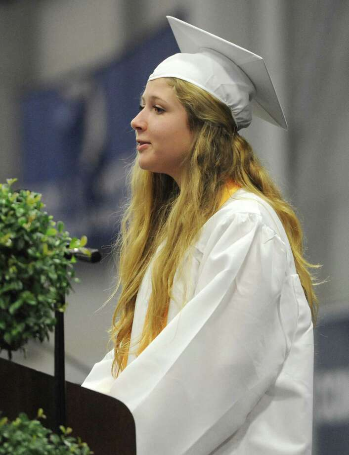 Samantha Quinn speaks at the New Milford High School 2014 Graduation Ceremony at Western Connecticut State University's O'Neill Center in Danbury, Conn. Saturday, June 21, 2014. Photo: Tyler Sizemore / The News-Times