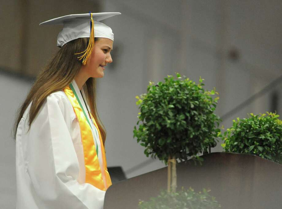 Valedictorian Maren Harcken speaks at the New Milford High School 2014 Graduation Ceremony at Western Connecticut State University's O'Neill Center in Danbury, Conn. Saturday, June 21, 2014. Photo: Tyler Sizemore / The News-Times