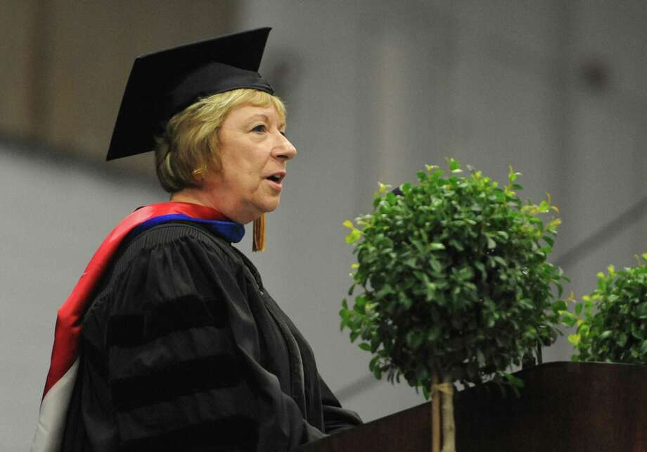 New Milford Superintendent Dr. JeanAnnPaddyfote speaks at the New Milford High School 2014 Graduation Ceremony at Western Connecticut State University's O'Neill Center in Danbury, Conn. Saturday, June 21, 2014. Photo: Tyler Sizemore / The News-Times