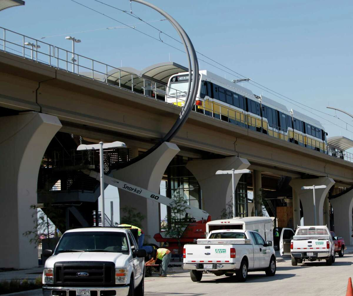 While DART was busy building rail stations in and around Dallas, like this one near downtown Carrollton in October 2010, Houston transit officials often found their development plans stymied by politicians.