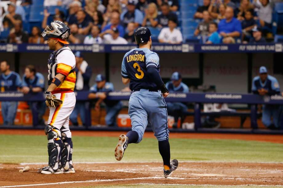 June 21: Rays 8, Astros 0  Evan Longoria scores in the fifth inning. Photo: Scott Iskowitz, Getty Images