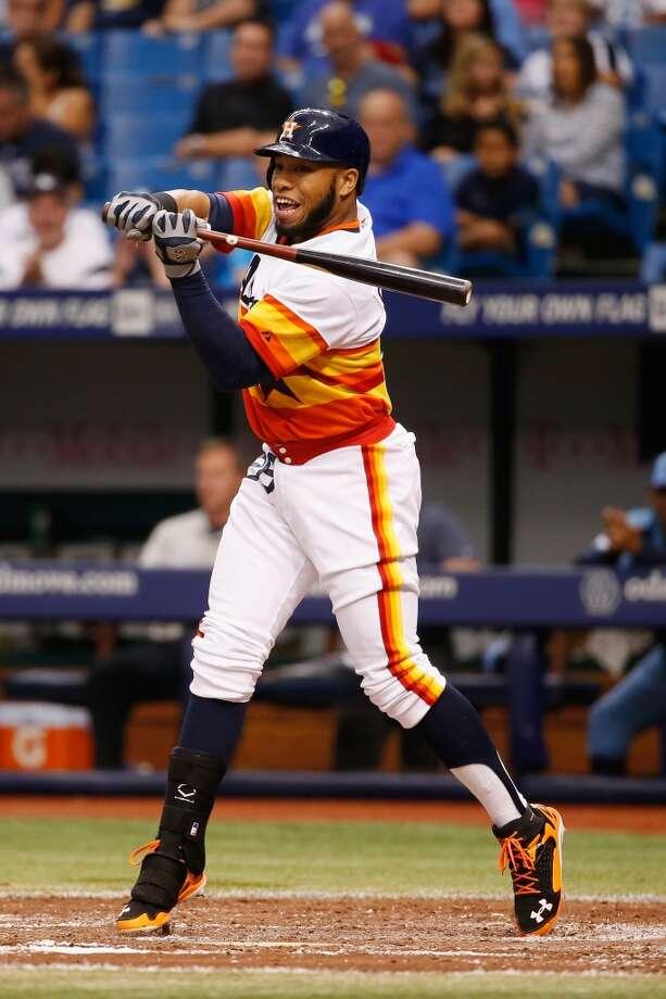 Jon Singleton checks his swing during the fourth inning. Photo: Scott Iskowitz, Getty Images