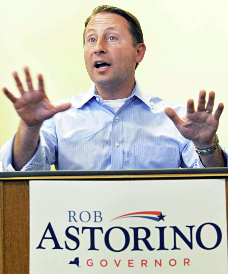 Republican gubernatorial candidate Rob Astorino speaks to his upstate supporters during a campaign stop Saturday June 21, 2014, in Clifton Park, NY.  (John Carl D'Annibale / Times Union) Photo: John Carl D'Annibale / 00027474A