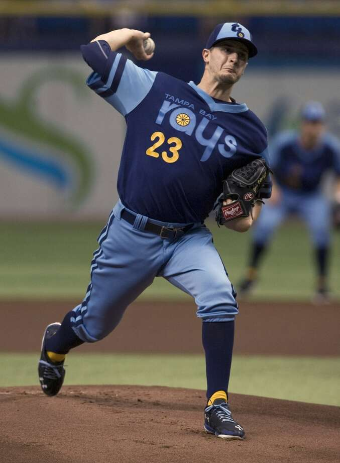 Rays starter Jake Odorizzi works during the first inning. Photo: Steve Nesius, Associated Press