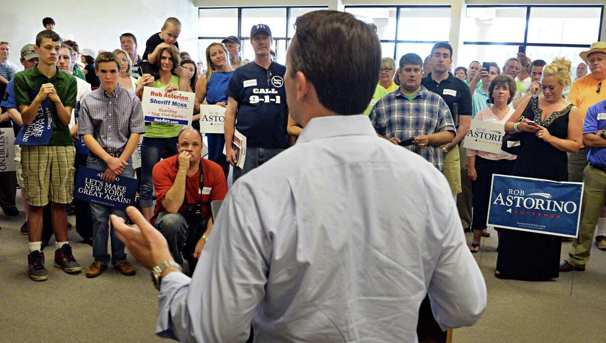 Republican gubernatorial candidate Rob Astorino speaks to his upstate supporters during a campaign stop Saturday June 21, 2014, in Clifton Park, NY. (John Carl D'Annibale / Times Union)