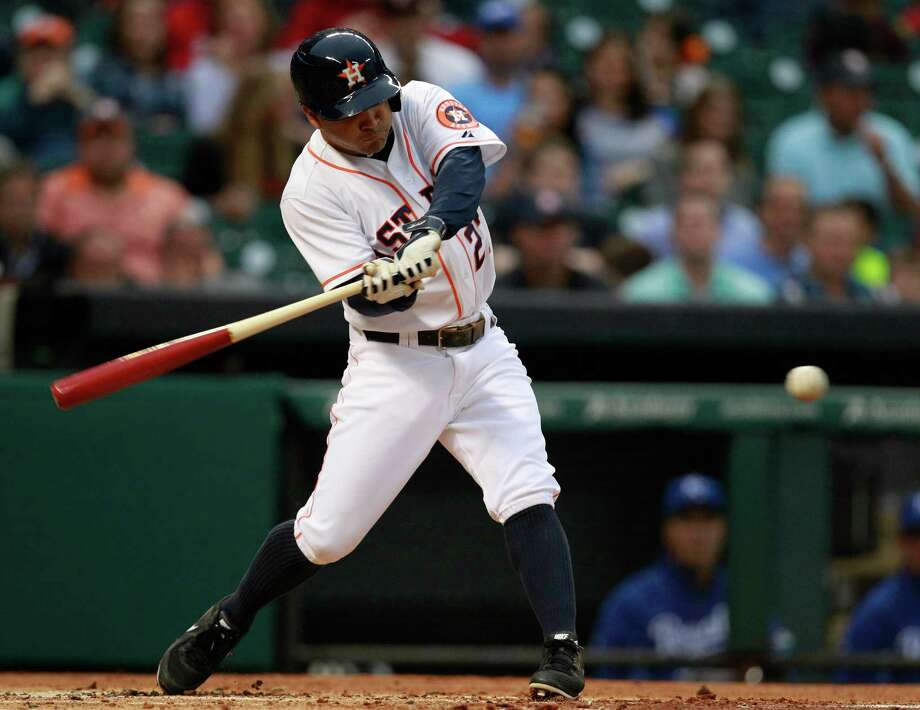 Jose Altuve leads the major leagues in hits (102) and is second and third in batting average (.336) and stolen bases (26), respectively. Photo: Melissa Phillip, Staff / © 2014  Houston Chronicle