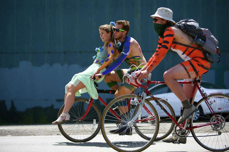 Painted cyclists ride from Ballard to Fremont. Photo: JOSHUA TRUJILLO, SEATTLEPI.COM / SEATTLEPI.COM