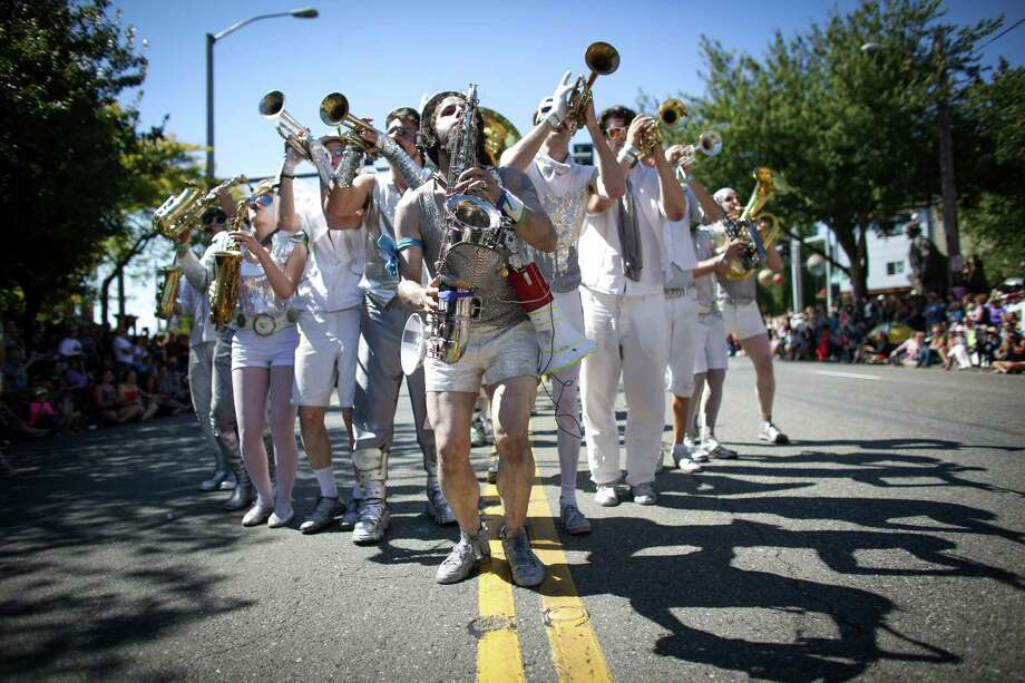 A band performs during the annual Fremont Solstice Parade. The 2014 edition of the parade featured cloud-free skies on the first day of summer. Photo: JOSHUA TRUJILLO, SEATTLEPI.COM / SEATTLEPI.COM