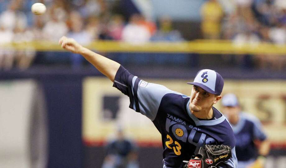Rays pitcher Jake Odorizzi allowed only one hit and two walks in 71/3 innings. Only one Astros runner reached second base. Photo: Will Vragovic / Tampa Bay Times / Tampa Bay Times