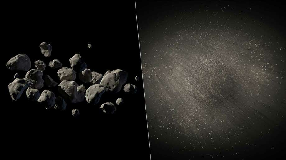 This undated handout two-picture combo of artist conceptions provided by NASA/JPL Caltech shows what NASA says are good candidates for a mission to capture an asteroid, haul it to the moon for astronauts to visit. One prime candidate swung close by Earth in 2011 so astronomers know its size, about 20 feet, mass and density, but they don't really know what it looks like. These images are two different artist conceptions of what the lightweight asteroid could look like, either a pile of small rocks flying together in formation, left, or a larger porous rock with pebbles surrounding it, right. Photo: Uncredited, AP  / AP2014