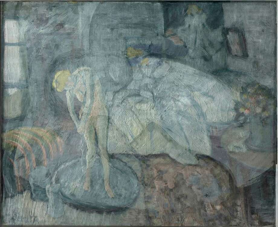 This undated handout image provided by The Phillips Collection shows the overlay of Picasso's The Blue Room, painted in 1901. Scientists and art experts have found a hidden painting beneath the painting. Advances in infrared imagery reveal a bow-tied man with his face resting on his hand, with three rings on his fingers. Now the question that conservators at The Phillips Collection in Washington hope to answer is simply: Who is he? It's a mystery that's fueling new research about the 1901 painting created early in Picasso's career while he was working in Paris at the start of his distinctive blue period of melancholy subjects. Photo: Uncredited, AP  / AP2014
