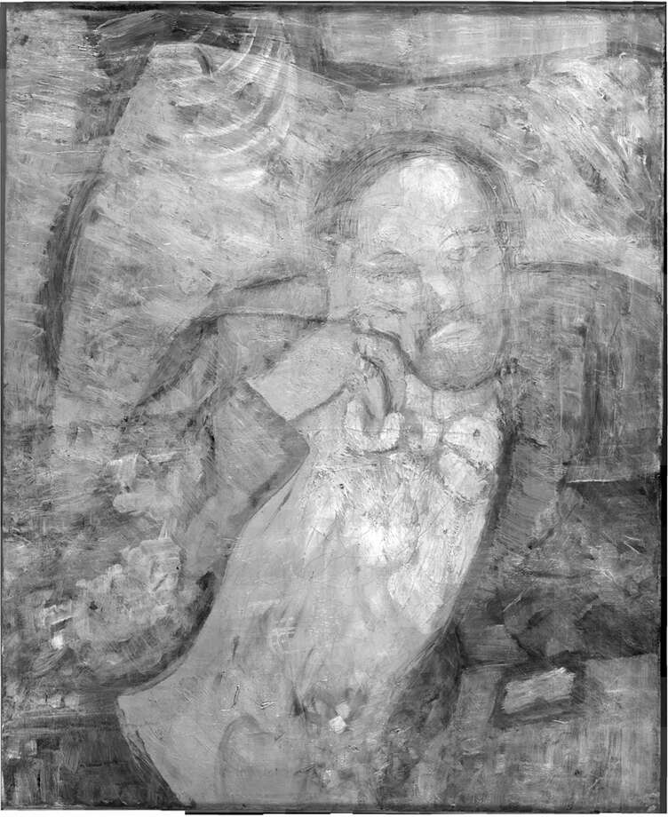 "This undated handout image provided by The Phillips Collection shows an infrared image of Pablo Picasso's ""The Blue Room,"" painted in 1901. Scientists and art experts have found a hidden painting beneath the painting. Advances in infrared imagery reveal a bow-tied man with his face resting on his hand, with three rings on his fingers. Now the question that conservators at The Phillips Collection in Washington hope to answer is simply: Who is he? It's a mystery that's fueling new research about the 1901 painting created early in Picasso's career while he was working in Paris at the start of his distinctive blue period of melancholy subjects. Photo: Uncredited, AP  / AP2014"