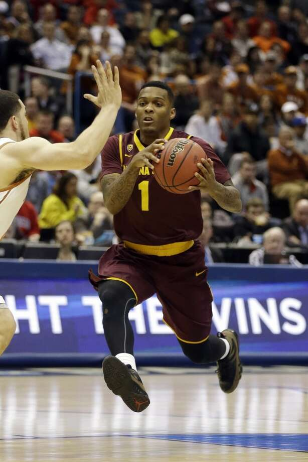 Jahii Carson  Position: Guard  Ht./Wt: 5-10/180 lbs  School: Arizona State  Classification: Sophomore  2013-14 stats: 19 points, four rebounds, five assists Photo: Jeffrey Phelps, Associated Press