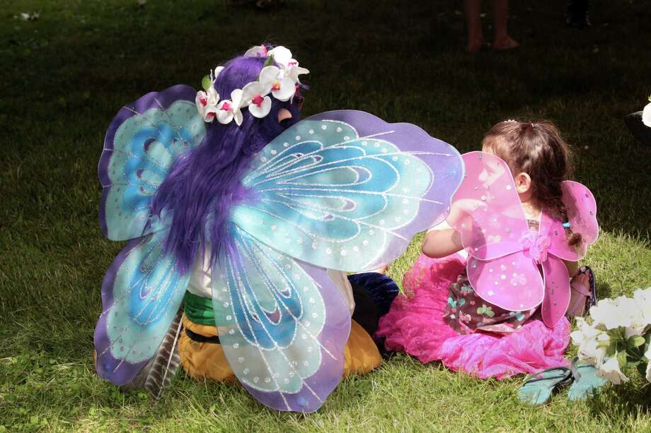 Zack Collar, of Waterbury, left, and Caelan Richardson, 3, of West Haven, watch a show at the  Midsummer Fantasy at Warsaw Park in Ansonia, Conn. on Sunday, June 22, 2014. The faire continues for two more weekends, June 28-29 and July 5-6,  from 11:00am - 6:30pm. Photo: BK Angeletti, B.K. Angeletti / Connecticut Post freelance B.K. Angeletti