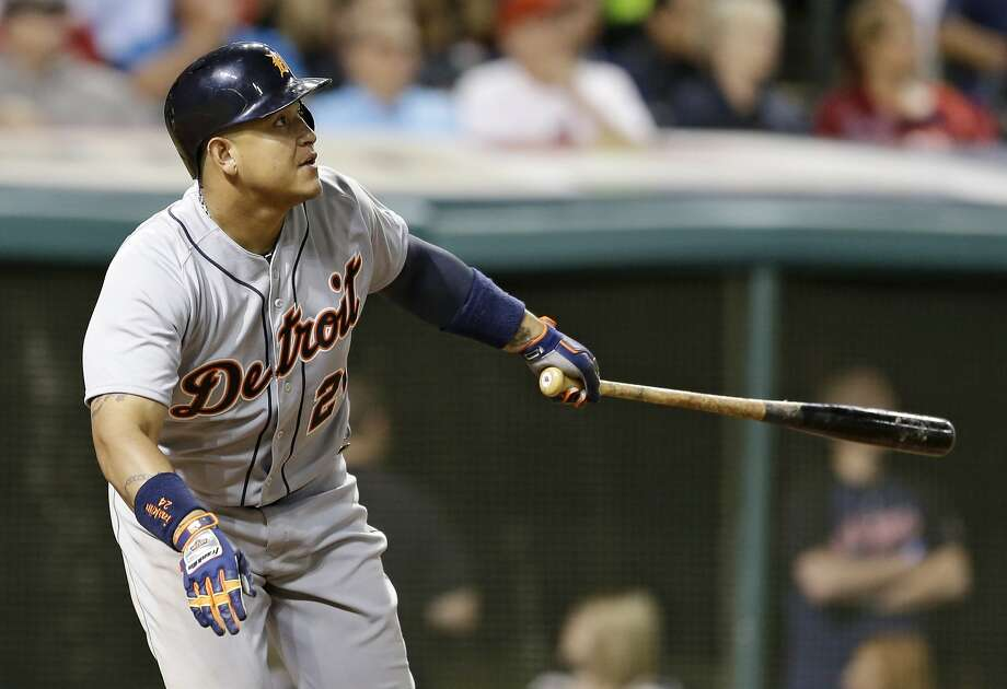 Detroit Tigers' Miguel Cabrera watches his RBI double off Cleveland Indians relief pitcher Cody Allen in the 10th inning of a baseball game, Saturday, June 21, 2014, in Cleveland. Ian Kinsler scored on the play. (AP Photo/Tony Dejak) Photo: Tony Dejak, Associated Press