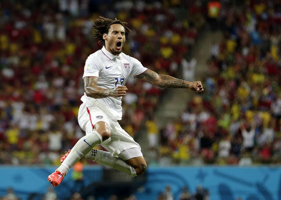 United States' Jermaine Jones celebrates after scoring his side's first goal during the group G World Cup soccer match between the United States and Portugal at the Arena da Amazonia in Manaus, Brazil, Sunday, June 22, 2014. (AP Photo/Julio Cortez) Photo: Julio Cortez, Associated Press