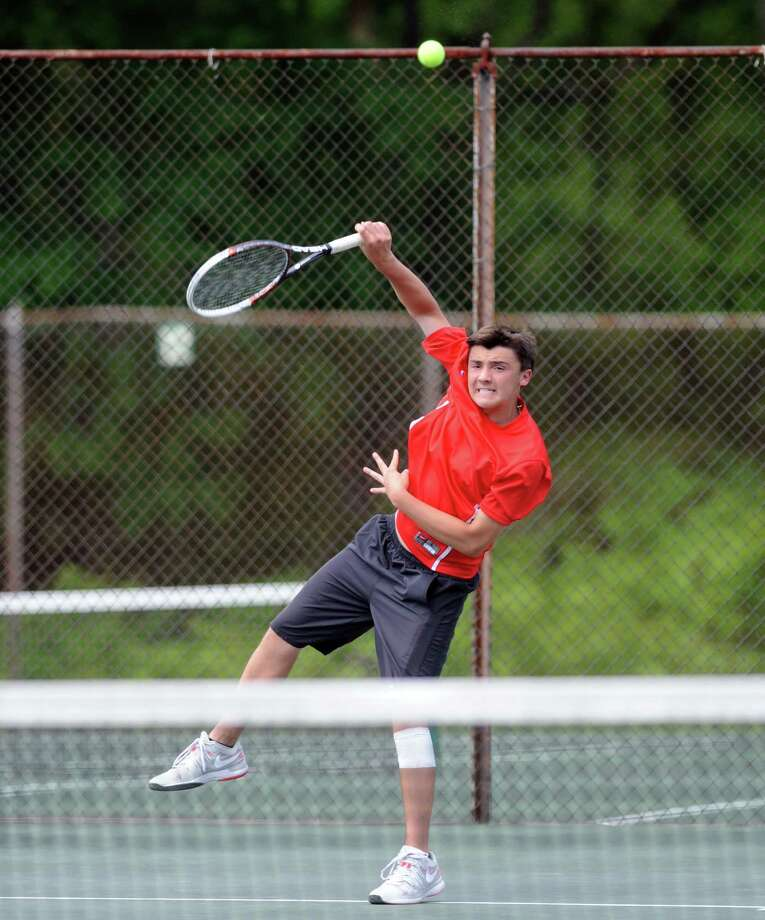 Albany Academy's Michael Haelen serves to Doane Stuart's Lars Olson during their Section II boys' tennis championship match at Central Park on Wednesday May 21, 2014 in Schenectady, N.Y. (Michael P. Farrell/Times Union) Photo: Michael P. Farrell / 00026985A