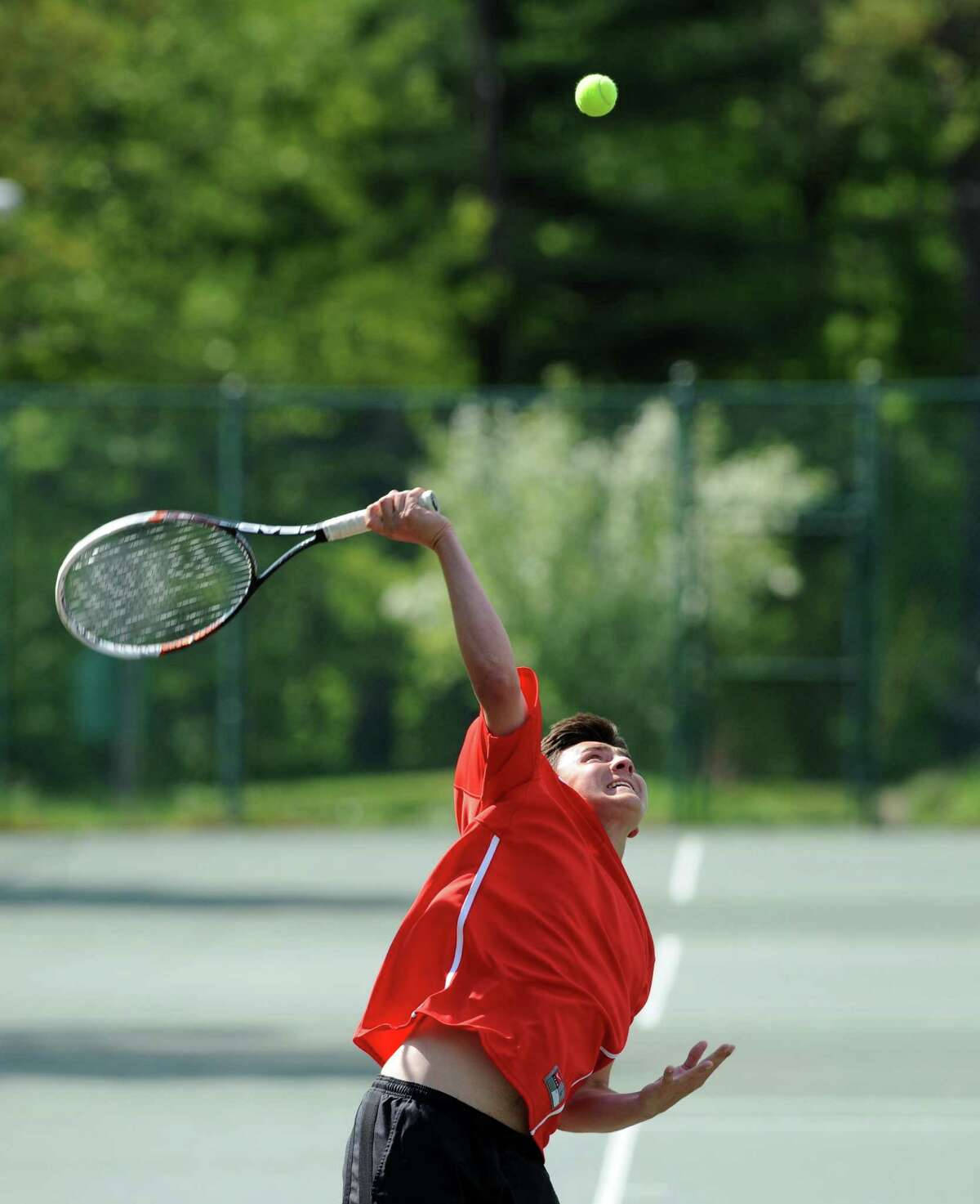 Albany Academy's Michael Haelen serves to Doane Stuart's Lars Olson during their Section II boys' tennis championship match at Central Park on Wednesday May 21, 2014 in Schenectady, N.Y. (Michael P. Farrell/Times Union)