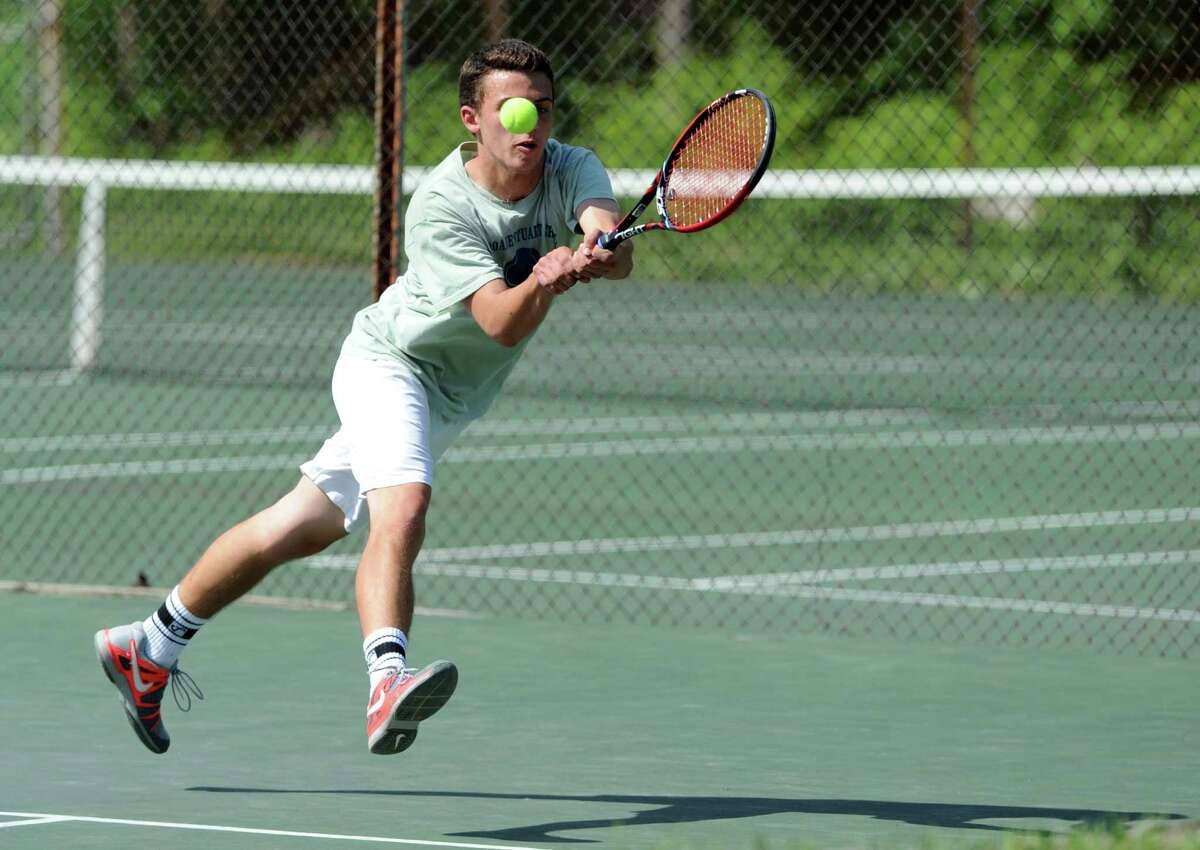 Doane Stuart's Lars Olson returns a shot to Albany Academy's Michael Haelen during their Section II boys' tennis championship match at Central Park on Wednesday May 21, 2014 in Schenectady, N.Y. (Michael P. Farrell/Times Union)
