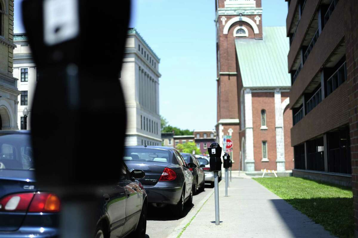 A view of individual parking meters along Lodge St. seen here on Tuesday, June 3, 2014, in Albany, N.Y. (Paul Buckowski / Times Union)