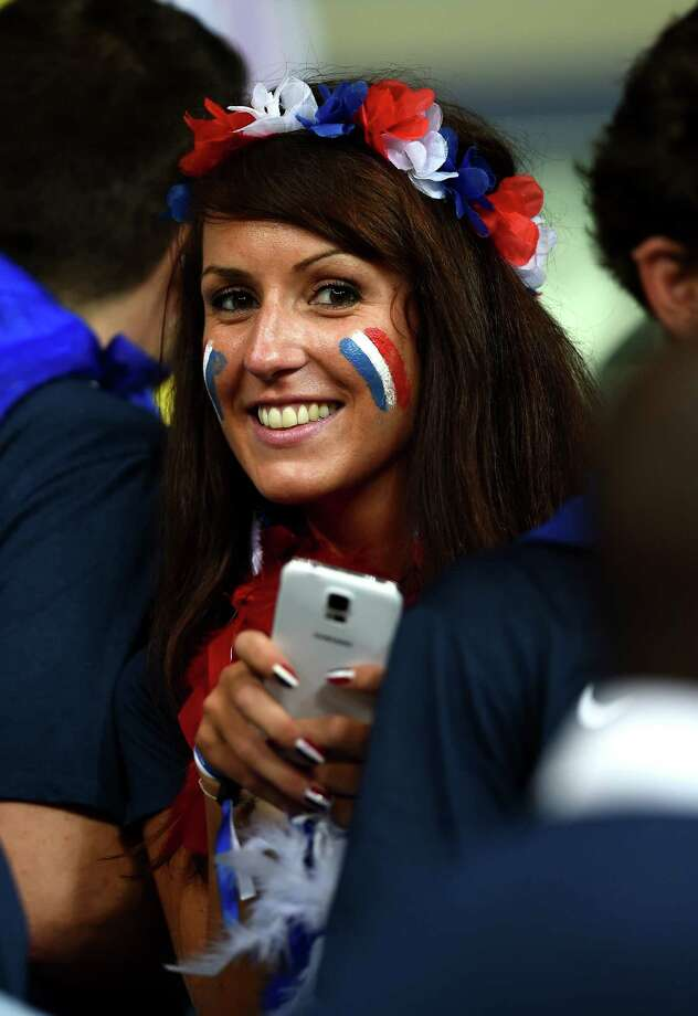 SALVADOR, BRAZIL - JUNE 20:  A France fan poses during the 2014 FIFA World Cup Brazil Group E match between Switzerland and France at Arena Fonte Nova on June 20, 2014 in Salvador, Brazil. Photo: Christopher Lee, Getty Images / 2014 Getty Images