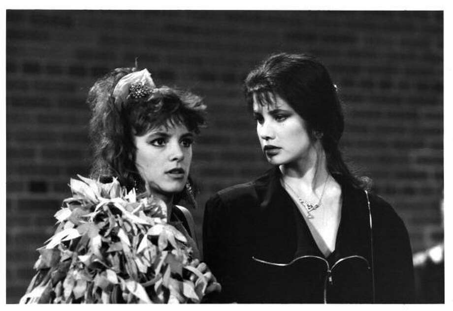 "Actresses Cynthia Gibb and Daphne Zuniga on set ""Modern Girls"" -- a terrific 1980S time capsule and a highly effective one-great-night young-love movie.  But it's almost entirely forgotten. Photo: Getty Images"