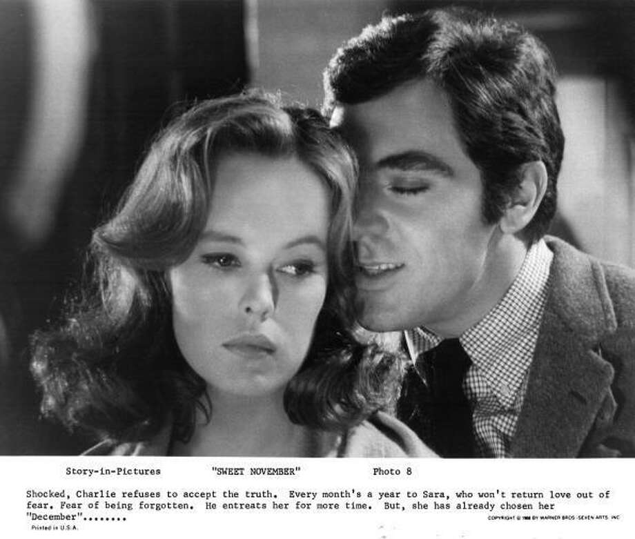 "Sandy Dennis and Anthony Newley in a scene from the Warner Bros. movie ""Sweet November"" (1968), about a woman who emotionally rescues a different troubled man every month. Photo: Getty Images"